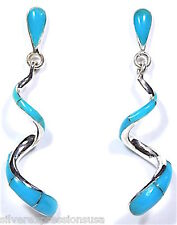 Sleeping Beauty Turquoise Inlay 925 Sterling Silver Curly Dangle Post Earrings