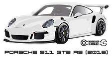 New! Collectable Sticker Porsche 911 GT3 RS 2016 WHITE