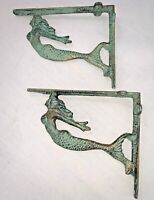 "(2) Rustic Mermaid Nautical Aged Iron Wall Shelf Support Brackets 7.5"" x 6.5"""