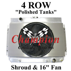 "4 Row Champion Radiator + Shroud + 16"" Fan For 1964-1967 Chevrolet El Camino"