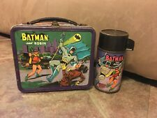 VINTAGE 1966 BATMAN AND ROBIN METAL LUNCH BOX with THERMOS