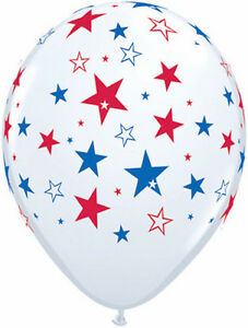 """4th OF JULY BALLOONS 10 x 11"""" QUALATEX RED WHITE & BLUE BIG STARS LATEX BALLOONS"""