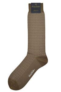 Brooks Brothers Mens 1 Pair Brown Diamond Pattern Cotton Blend Socks 7-12 8071-7
