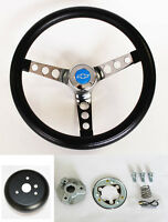 "Chevy Pick Up Blazer GRANT Black Steering Wheel 13 1/2"" Blue Bowtie cap"