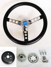 "Chevy Pick Up Blazer GRANT Black Steering Wheel 13 1/2"" Blue Bowtie cap"
