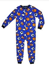 New NWT L 10 12 boys 1 piece non footed pajamas blanket sleeper fleece sports