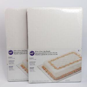 "Wilton Cake Boards 10"" x 14"" Rectangle White 6/Pkg - Set of 2 - 12 Boards Total"