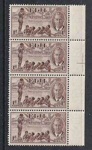 FIJI 1951 1d PLUS 1d HEALTH STRIP OF FOUR MINT LIGHTLY HINGED