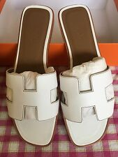 NEW HERMES WHITE ORAN OASIS SANDAL SLIPPER 38 US 7 SHOES FLATS LOAFER