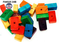 Wooden Wood 24 Large Blocks For Bird Parrot Toys Parts Macaw African Grey Amazon