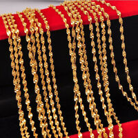 "Wholesale 5PCS 16-30"" 18K Gold Filled Double Water Wave Chain Necklace Pendants"