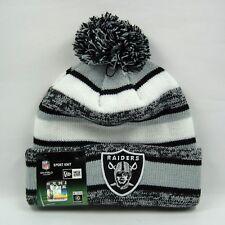 New Era Men's NFL Oakland Raiders Team Snowfall Stripe Knit Bobble Beanie Hat