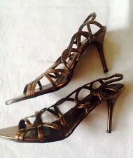 Deva Metallic Bronze Gold High Heel Strappy Sandal Shoes Size 6
