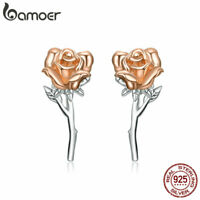 BAMOER Fine S925 Sterling silver Stud Earrings Graceful Rose for women Jewelry