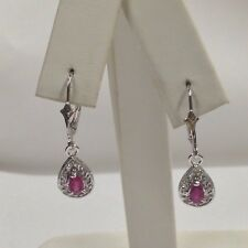 Natural Ruby with Natural Diamond Dangle Earrings Solid 14kt White Gold