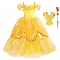 Girls Deluxe Belle Princess Costume Beauty and The Beast Dress Up Carnival Party