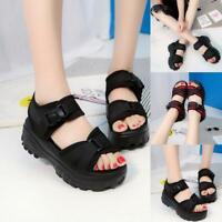 Women's Sport Sandals Buckle Creeper High Platform Gladiators Summer Slippers