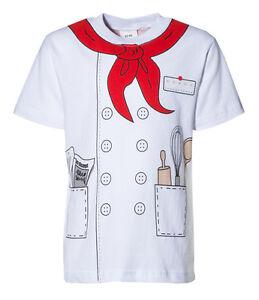 Kinder Uniform Kostüm T-Shirt * Chef Koch * Weiss 92/98 bis 140/146