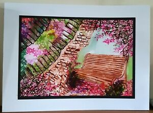Handmade watercolour picture scene mounted
