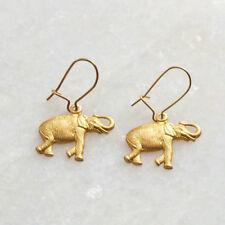 Lightweight Safari Animal Charm Ear Wires Gold Brass Elephant Drop Earrings -