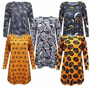 WOMENS HALLOWEEN DRESS LADIES PRINTED LONG SLEEVE SWING DRESS FREE WITCH HAT