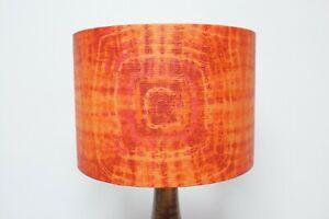 Original 70s/80s Paper Lampshade, Retro, 30cm Drum, Red, Tie-Dye, Orange, Boho