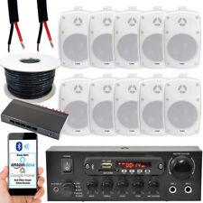 Outdoor Bluetooth Speaker Kit -10x 60W White –Stereo Amp – 5 Zone Garden Parties