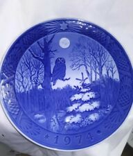 1974 Royal Copenhagen Christmas Winter Twilight Owl Plate 7 1/4""