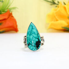32 CTS  NATURAL FINE TIBETAN TURQUOISE VINTAGE STYLE SILVER  PLATED RING=US-6