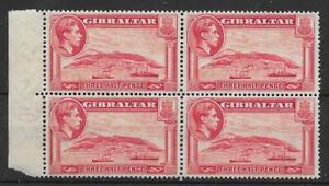 GIBRALTAR SG123 1938 1½d CARMINE p14 BLOCK OF 4 MTD MINT
