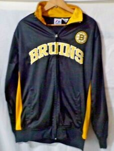 Boston Bruins Full Zip Black Gold  Warm-up Jacket by Majestic Size M
