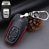 For Audi A4L A6 A8 Q5 leather car key case holder cover remote fob Red stitching