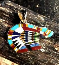 Native American White Turquoise Zuni Bear Pendant Micro Inlay Sterling Silver