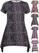 Womens Plus Size Animal Leopard Printed Ladies Short Sleeve Uneven Hem Dress Top