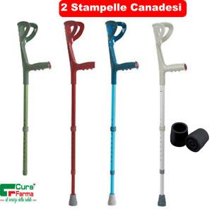 Coppia di Stampelle Canadesi Regolabili in Altezza, Leggere. Bastoni Antiscivolo
