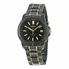 Seiko Men's SNQ045 Perpetual Calendar 100M Black-Tone Luminous Hands Date Watch