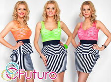 Synthetic Striped Sleeveless Mini Dresses for Women