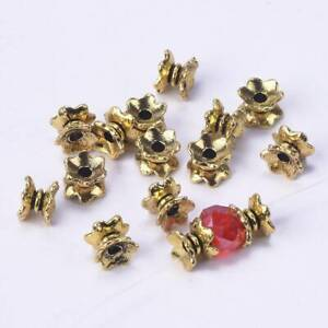 50pcs 7x4mm Antique Gold Loose Metal Spacer Beads Caps Lot for Jewelry Making