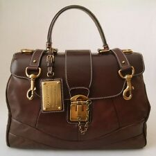 DOLCE & GABBANA WOMEN'S COLLECTION LUX LEATHER *MISS ORIENT* HANDBAG BROWN ITALY