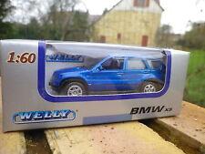 WELLY 1/60 3 INCH: BMW X5 bleu état neuf boite jamais ouverte.