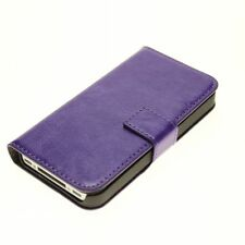 Purple Genuine Leather Real Leather Wallet Case Cover Stand for iPhone 4 4S