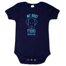 """My Best Friend Has Four Legs"" Organic Cotton Baby Romper / Bodysuit Size 2"