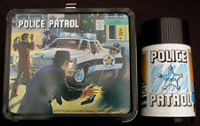 Vintage POLICE PATROL Lunchbox & Thermos - Man Cave (1978) R-6 Rare - C-9 Minty!