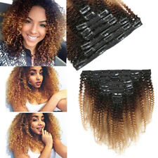 "16"" Ombre Mongolian Afro Kinky Curly Clip Ins Hair Extensions 8pcs 18 Clips 120g"