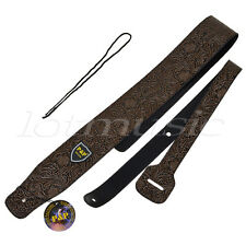 Strap for Electric Acoustic Guitar Bass Adjustable PU Leather Padded Thick Brown
