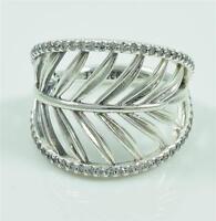 Authentic Genuine Pandora Silver Tropical Palm Ring - Size 58 - 190952CZ
