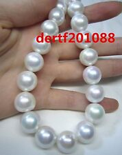 """AAA 18"""" 14-11 MM NATURAL SOUTH SEA GENUINE white  PEARL NECKLACE 14K Solid gold"""