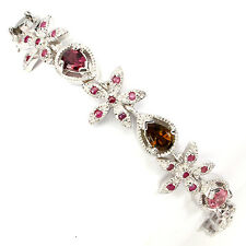 BEWITCHING NATURAL FANCY COLORS TOURMALINE,RED RUBY STERLING 925 SILVER BRACELET