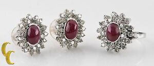 14k White Gold Diamond & Ruby Cabochon Ring and Earring Set Size 6.75 Gift!