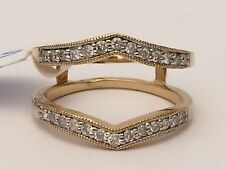 14K Yellow Gold  Enhancer Diamonds Pave  Ring Guard Wrap Solitaire  Engagement